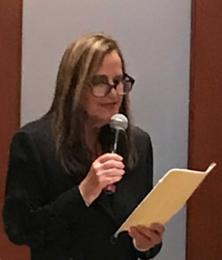 Debra S. Frank introducing the judicial officers presenting at the Family Law Study Group meeting, September 2018